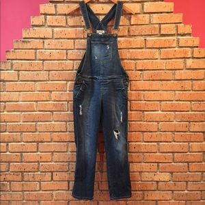 Guess distressed denim overalls